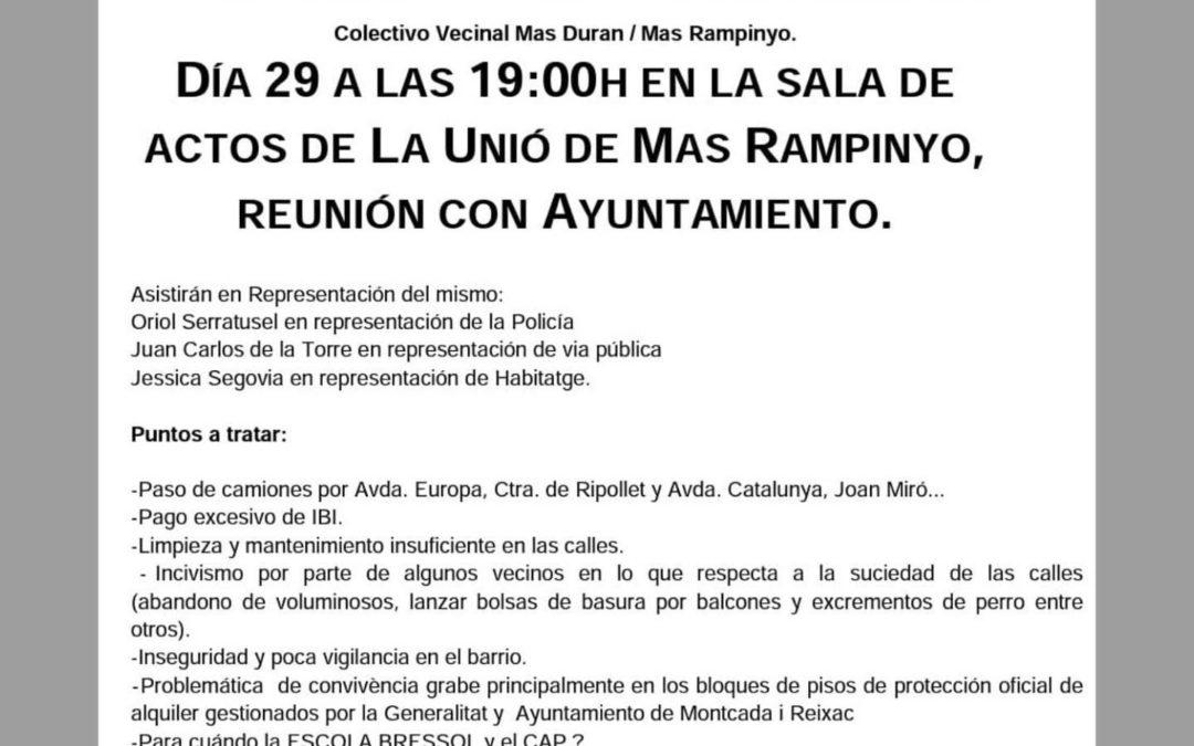 Trobada Col·lectiu Veins Mas Duran / Mas Rampinyo i Ajuntament