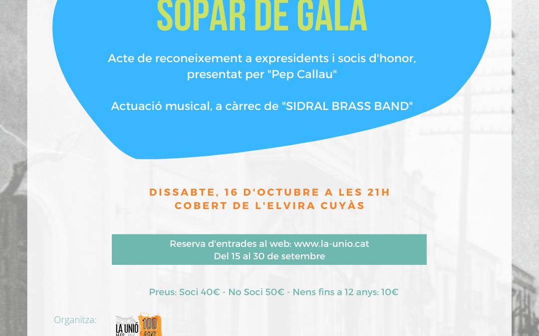 Actes Centrals Centenari – Sopar de Gala –